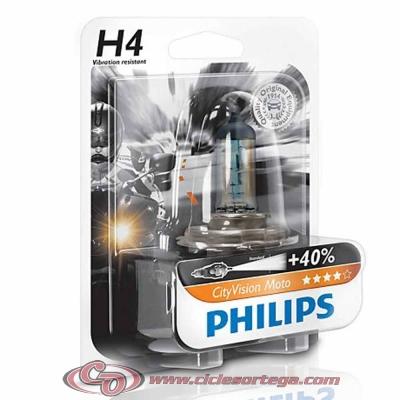 Lámpara H7 12v 55w City Vision Moto +40% de luz de Philips