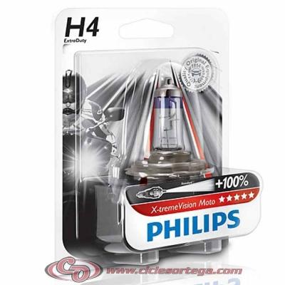Lámpara H7 12v 55w X-treme Vision Moto + 100% de Philips