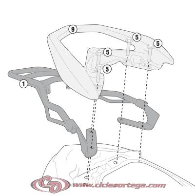 Kit Anclajes Givi SR2114 para BAUL sistema monolock YAMAHA D´ELIGHT 114 2013-