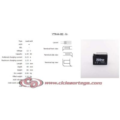 Bateria de moto Nitro YTR4A-BS AGM abierta con pack de acido