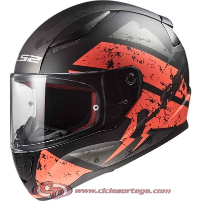 Casco integral LS2 RAPID FF353 DEADBOLT Matt Black Orange talla XL