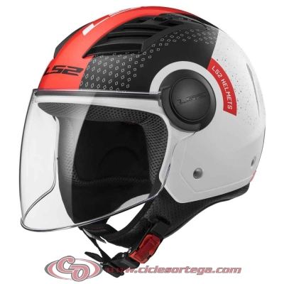 Casco Jet LS2 AIRFLOW L OF562 CONDOR White Black Red talla L