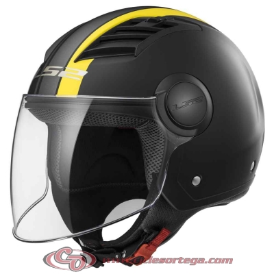 Casco Jet LS2 AIRFLOW L OF562 METROPOLIS Matt Black H-V Yellow talla XS