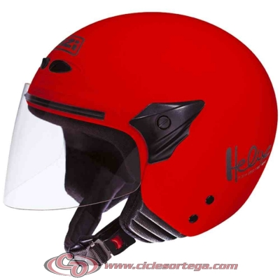 Casco NZI Jet HELIX II JR RED brillo talla L