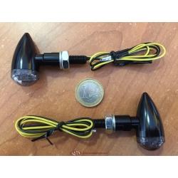 Par de intermitentes leds negros Microbullet Classic Cafe Racer 7639 de FAR
