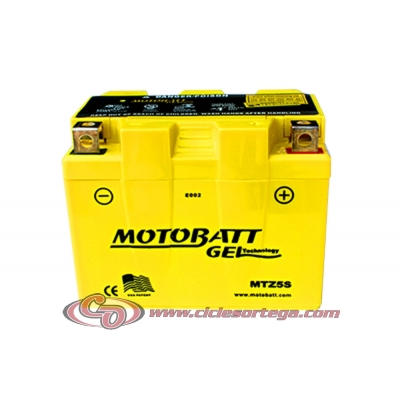 Bateria de Gel MTZ5S equivalente a YTZ5S de Motobatt
