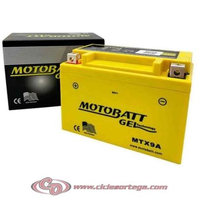 Bateria de Gel MBTX9U equivalente a YT12A-BS de Motobatt