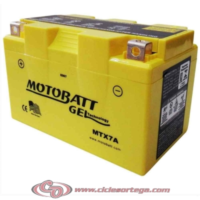Bateria de Gel MTX7A equivalente a YTX7A-BS de Motobatt