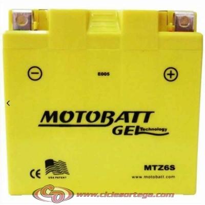 Bateria de Gel MTZ6S equivalente a YTX5L-BS YTZ7S de Motobatt