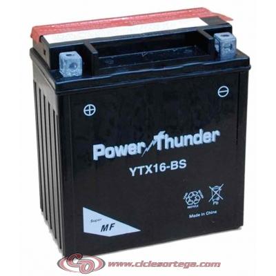 Bateria POWER THUNDER YTX16-BS ACTIVADA