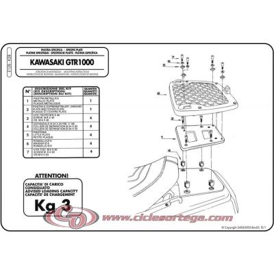 Kit Anclajes para BAUL sistema monokey KAWASAKI GTR 1000 1986-