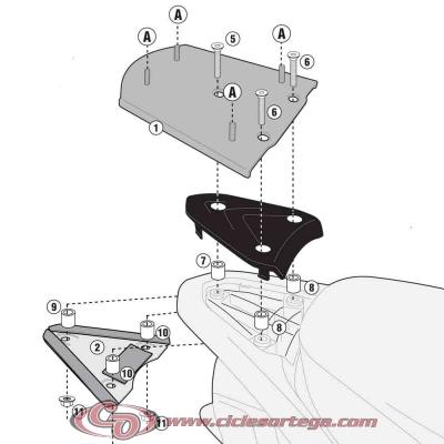 Kit Anclajes para BAUL sistema monolock PIAGGIO FLY 50 2012-