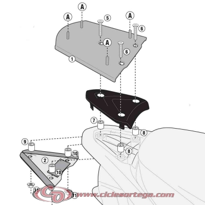 Kit Anclajes para BAUL sistema monolock PIAGGIO FLY 125 2012-