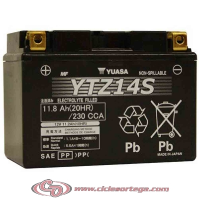 Bateria YUASA YTZ14S (compatible con YTZ12S) Original Yamaha ENVIO 24 HORAS