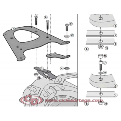 Kit Anclajes para BAUL sistema BMW C 600 SPORT 2012-