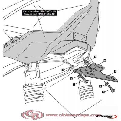 Portamatrículas 6933N + 1SDF16851000 de PUIG YAMAHA X-MAX 400 2013-